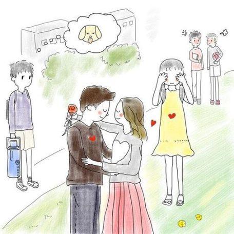 小情侣牵手手绘画图片