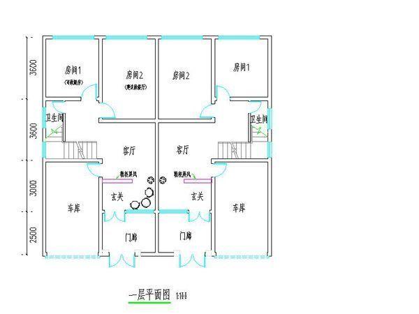 求农村房屋设计图 约6米宽,12米长,一楼要一车库 一厅图片