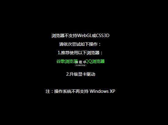 浏览器不支持WEBGL或CSS3D