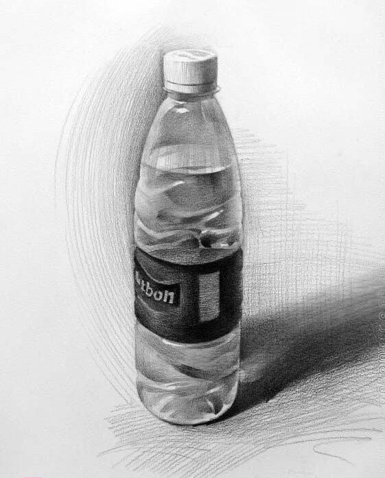 素描中的矿泉水瓶怎么画啊(带水的)