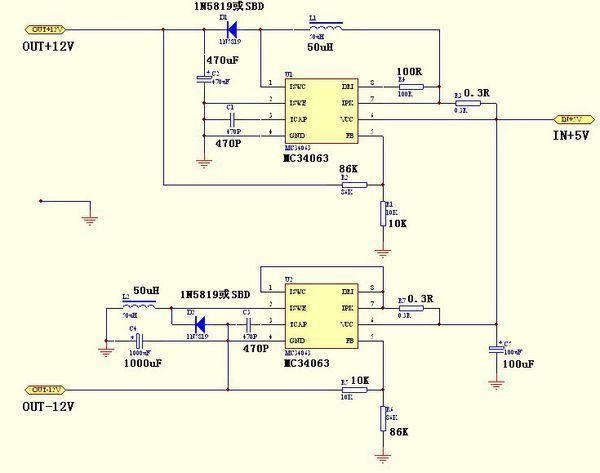 求5v转换±12v的ic及外围电路图