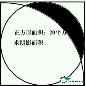 正方形里面一个内切圆,还有一个以正方形一角为圆心半径为边长的四分