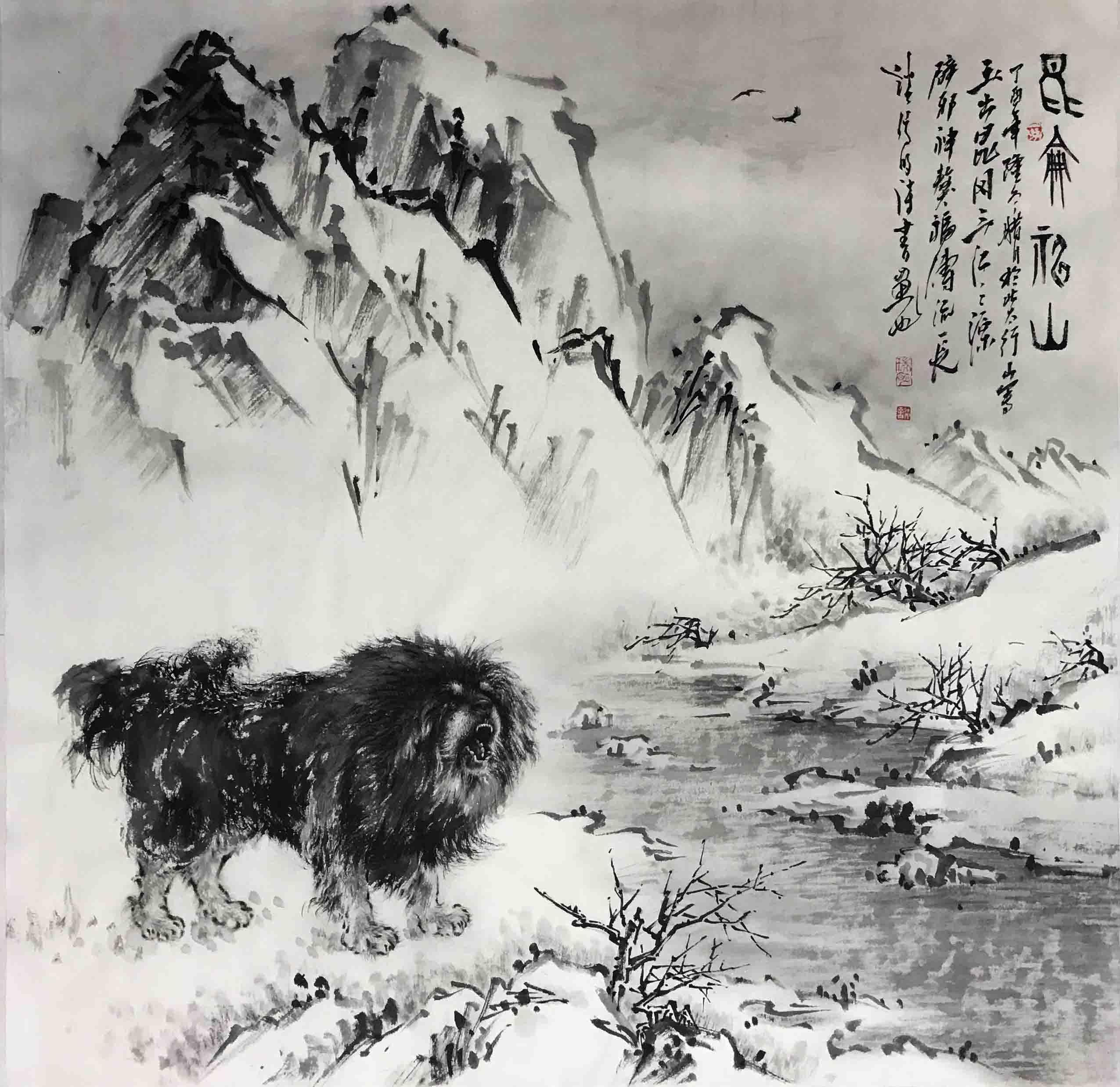 雪山风景-艺术大师谈瑞明作品