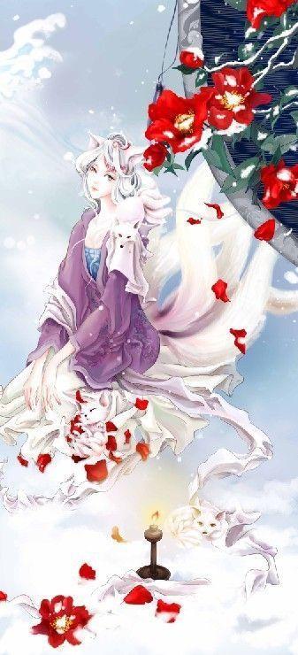 如何画人形的九尾白狐