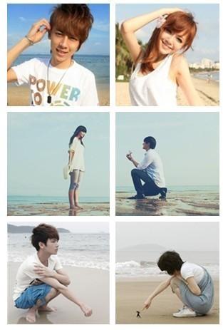 qq情侣头像一左一右 一男一女 海边的