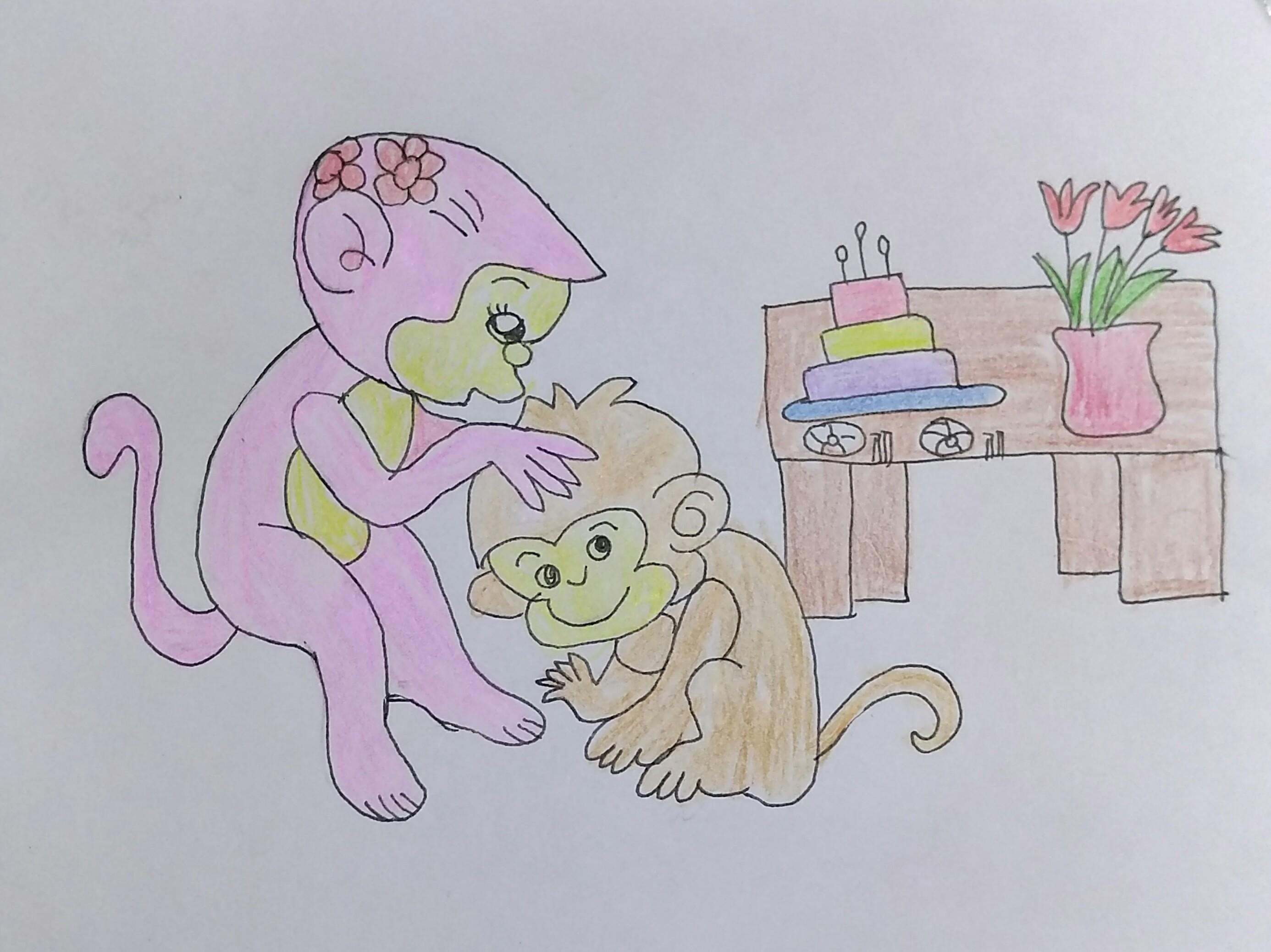 小猴子送给妈妈的花 绘画版