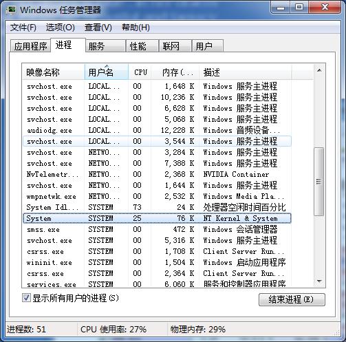 system进程cpu占用会不定时达到25%-100%