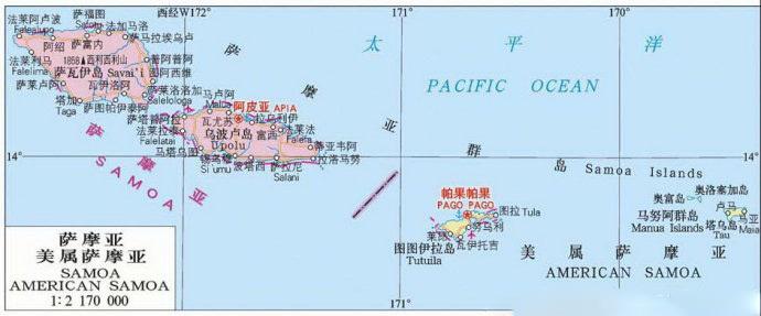 折叠 位置境域 萨摩亚位于太平洋南部,萨摩亚群岛西部,由萨瓦伊和