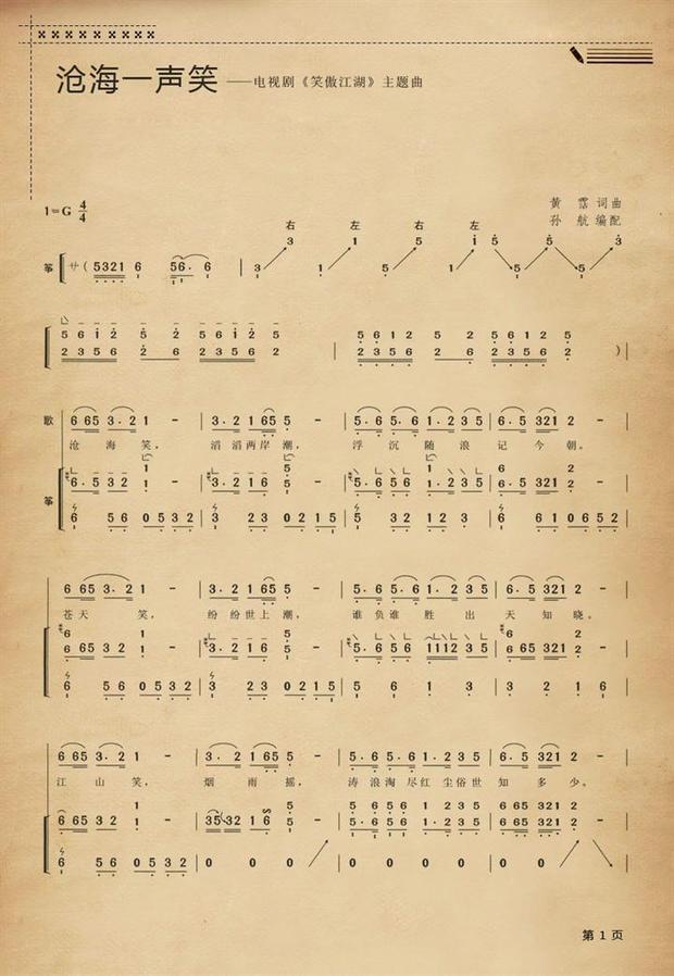 《沧海一声笑》古筝谱 双手版 谁有啊?有的话请发给我