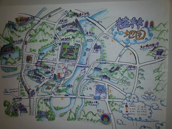 大桂林旅游手绘地图