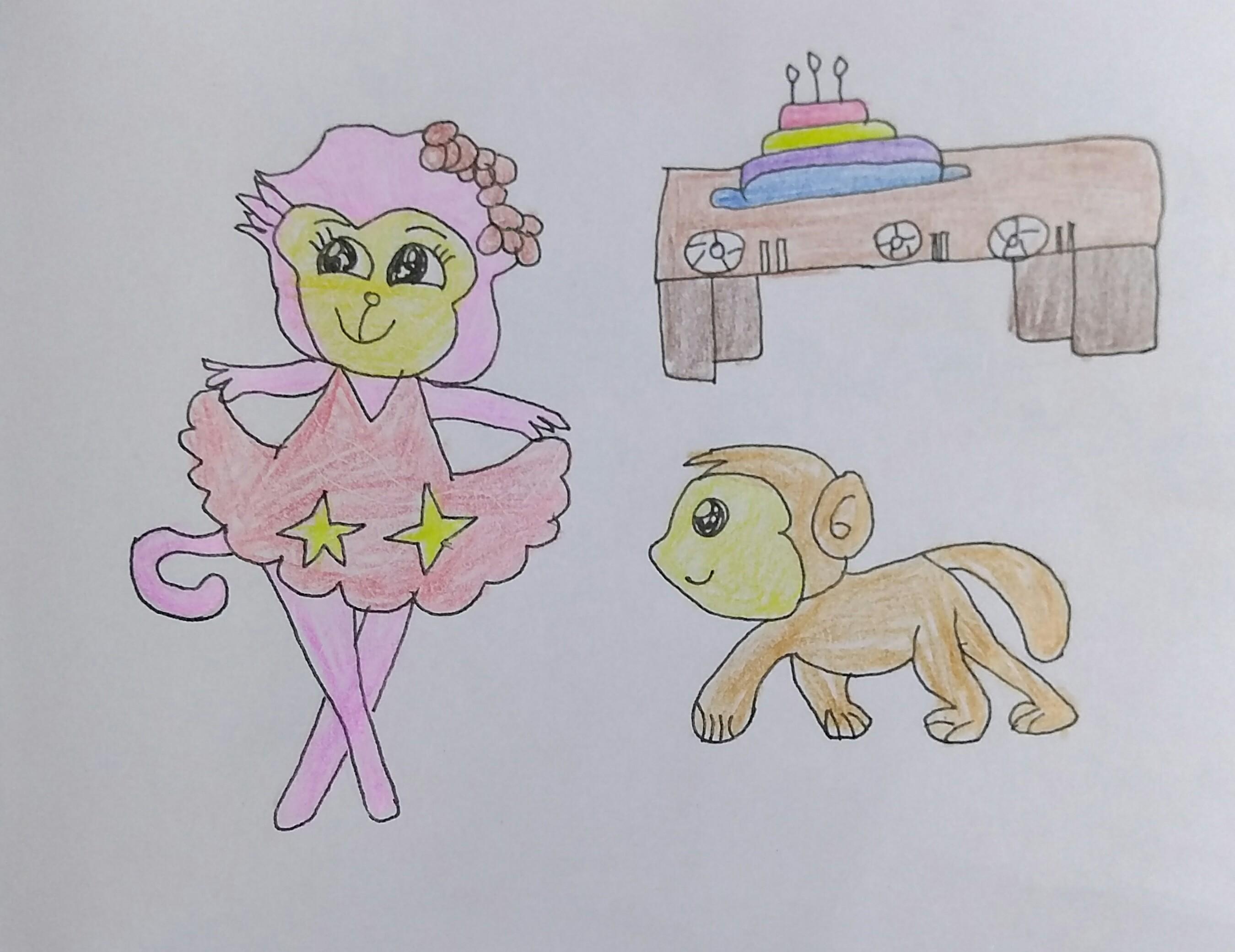 【双旦来啦】小猴子送给妈妈的花——绘画版