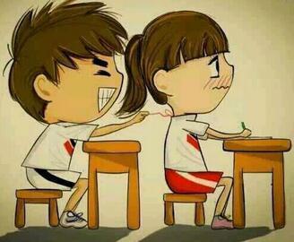 想找一张动漫图片当头像,要求:教室里,一男一女,前后桌.