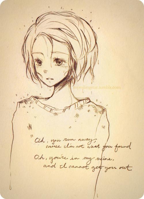 要铅笔画出来的动漫女孩